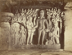 [Sculpture of the marriage Shiva and Parvati in the Dumar Lena Cave Temple (Cave XXIX), Ellora.]